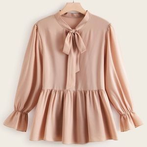 Bow knot blush pink plus size women top blouse